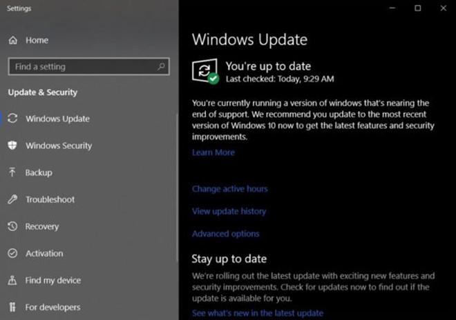 Microsoft sẽ thông báo khi phiên bản Windows 10 không còn hỗ trợ