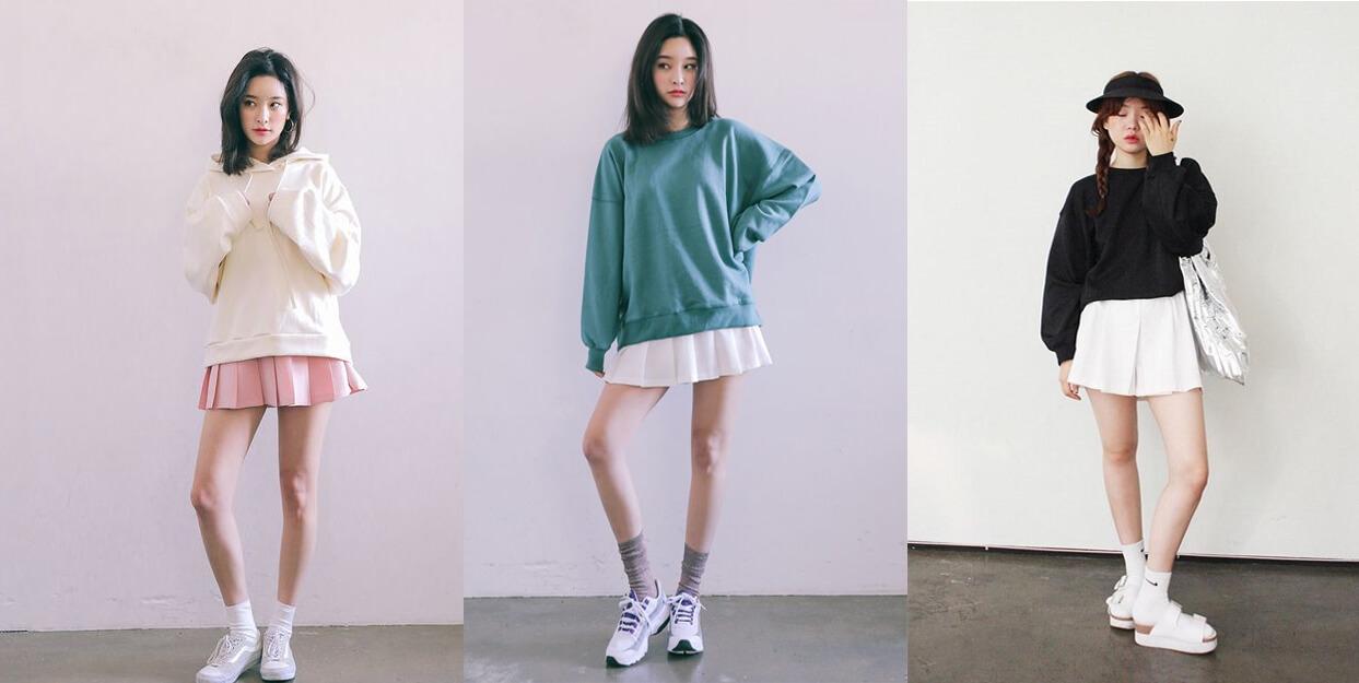 Hoàn thiện style mùa thu bằng combo chân váy và áo nỉ